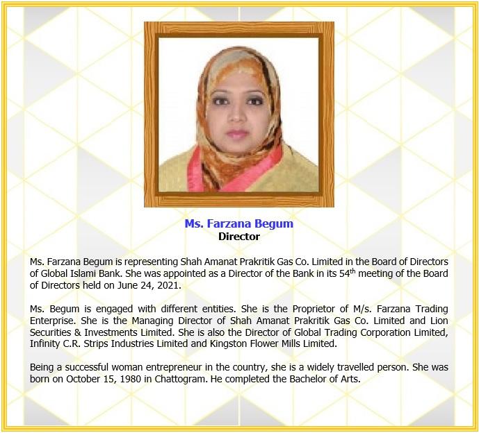 Ms. Farzana Begum, Director