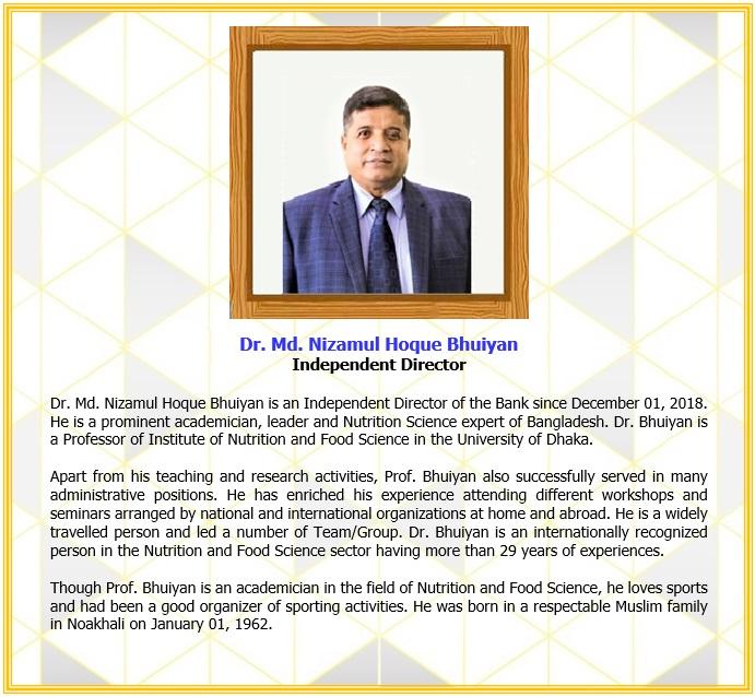 Dr. Md. Nizamul Hoque Bhuiyan, Independent Director